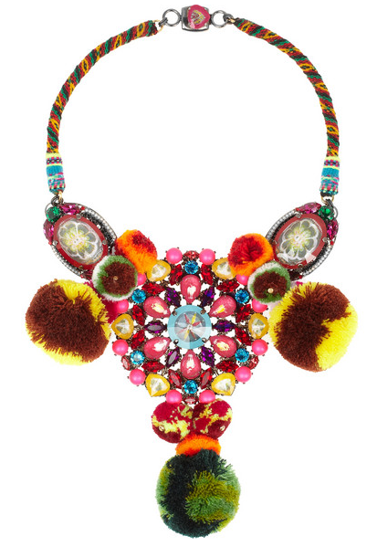 Mario Testino for Mate necklace made with ruthenium-plated, Swarovski crystal and pompoms