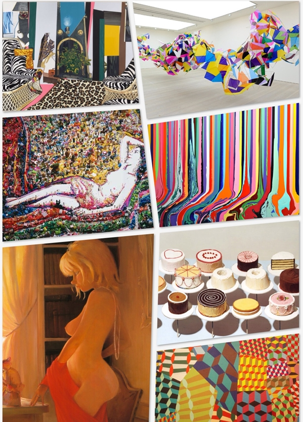 """From top (clockwise) Mickalene Thomas's """"The Seduction of Blackness"""", Marcelo Jacome's """"Planos-Pipas"""", Vik Muniz's """"Odalisque After Gustave Le Gray"""", Ian Davenport's """"Puddle Painting"""", Lisa Yuskavage's """"Northview"""", Sharon Core's """"Cakes"""" and Barry McGee's detail from installation"""