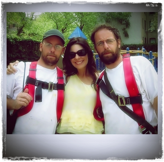 """Me and Gustavo and Otavio Pandolfo in 2010. They are the twin brothers who form """"Os Gemeos"""""""