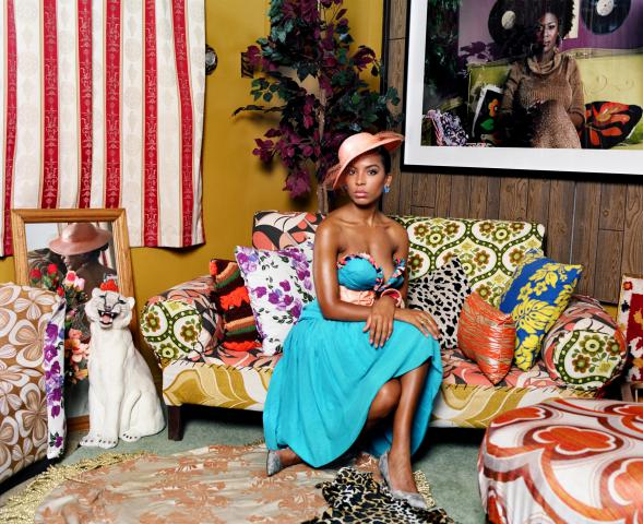 Portrait of Lili in Color byMickalene Thomas (Available at Artspace)
