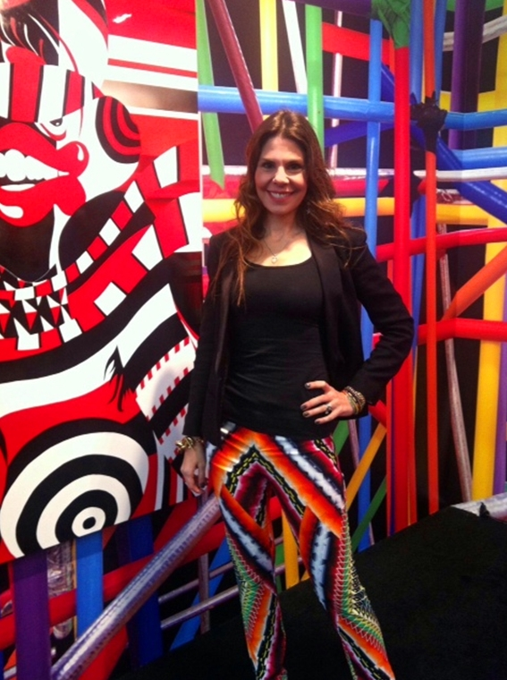 Op Art Overload: wearing Peter Pilotto pants in the AVAF installation that the Suzanne Geiss Gallery brought to the Armory Show earlier this year.