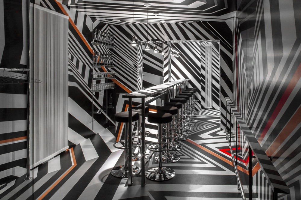 "This is the ""Oppenheimer Bar"" at the Hotel Americano.  An installation and design created by Tobias Rehberger this past May.  I was able to see the space before it opened to the public and I was blown away."