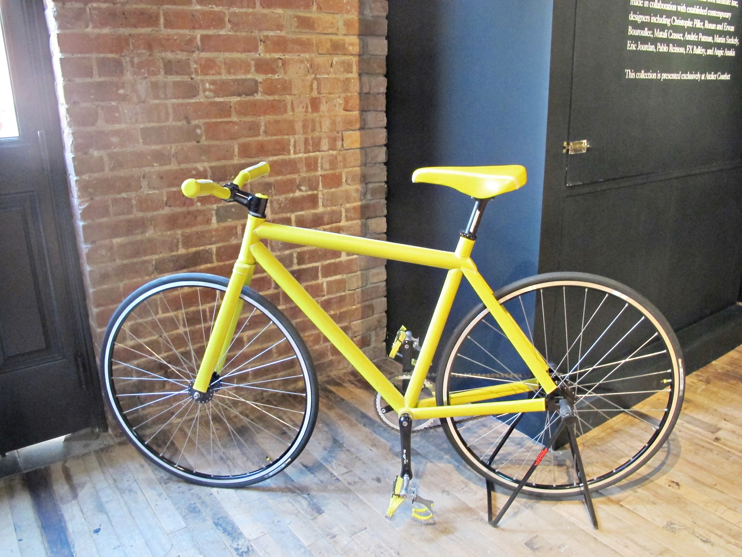 This is a limited edition bike upholstered in yellow leather. It was designed by Pharrell Williams forDomeau & Pérès.