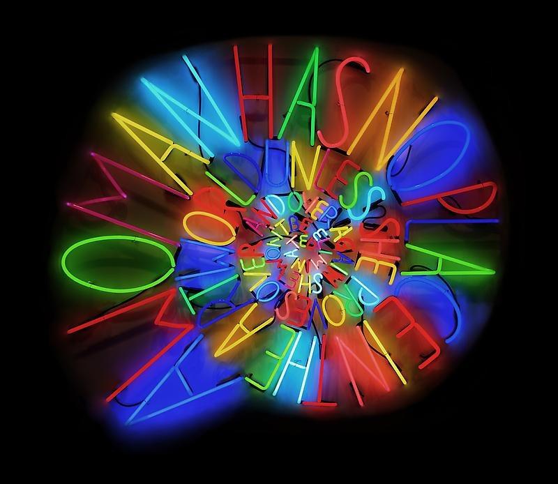 "Deborah Kass's neon""After Louise Bourgeois"""