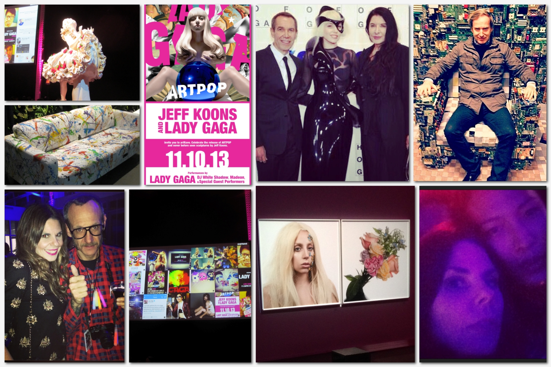 """From top left: one of Jeff Koons' new sculptures conceived exclusively for the ArtRave; a """"Jackson Pollock Style"""" sofa in the outdoor area of the Navy Yard complex, the invite to the party; Jeff Koons, Lady Gaga andMarina Abramović; Simon de Pury sitting on Benjamin Rollin Caldwell's """"Binary Chair""""; me and Terry Richardson; the screens showing Gaga's latest images; Inez & Vinoodth photographs in the VIP room; Alexander Wang and I waiting for Gaga's performance"""