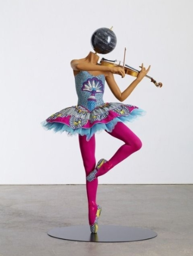Yinka Shonibare-Ballerina with Violin (Giselle), 2013, mannequin, African textiles and mixed media. Available at James Cohan Gallery
