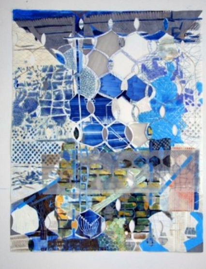 Fran Siegel, Balancing Act 6  , 2013  colored pencil, paint, and ink on cut and collaged paper. Available at Lesley Heller Gallery (Untitled Fair)
