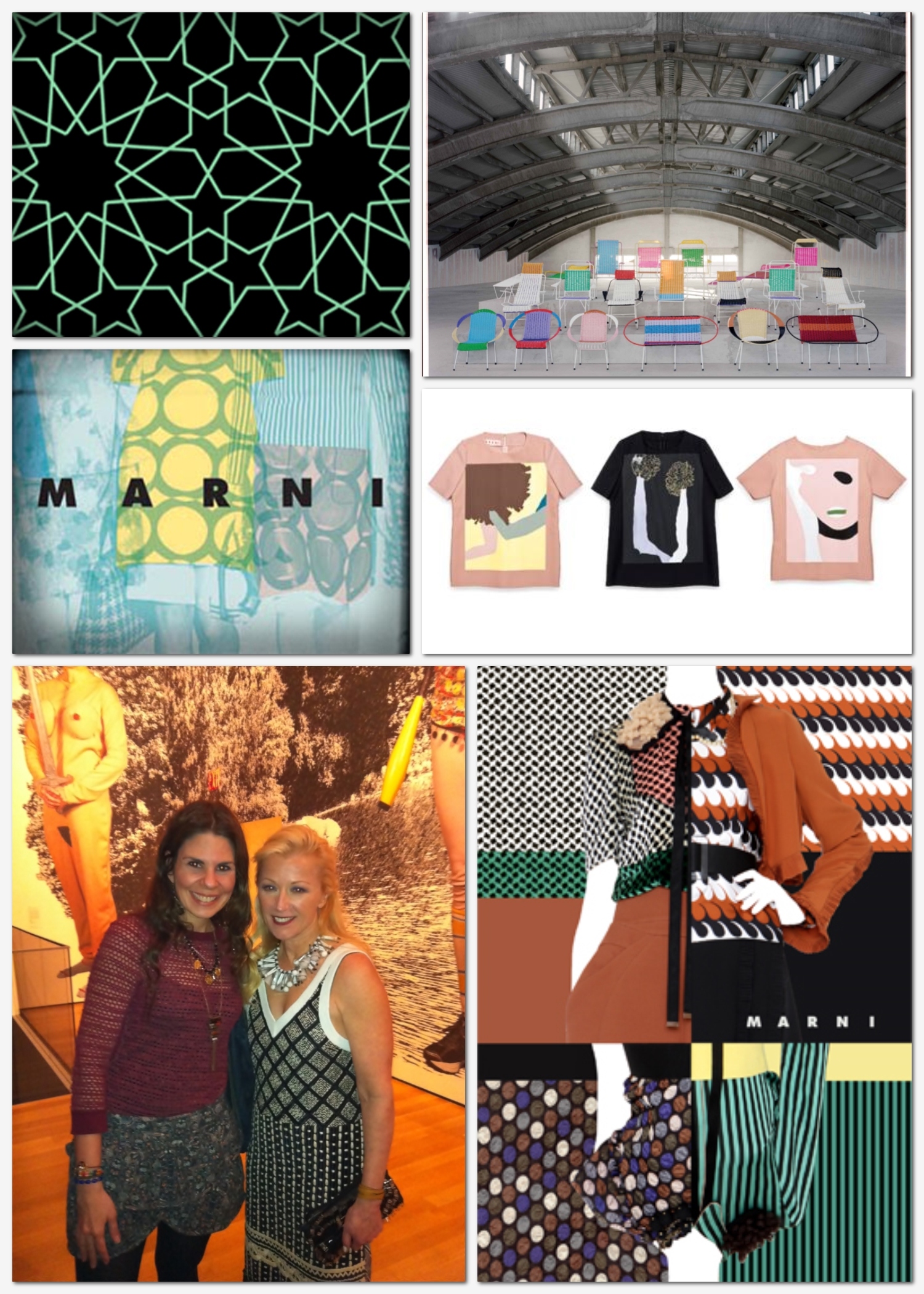 From top left clockwise: Marni patterns; Marni chair exhibition during Art Basel Miami Beach 2013, Marni postcard; Gary Hume x Marni T-Shirt Collaboration; Cindy Sherman wearing Marni at the opening of her solo show at MoMA in 2012; Marni spring 2013