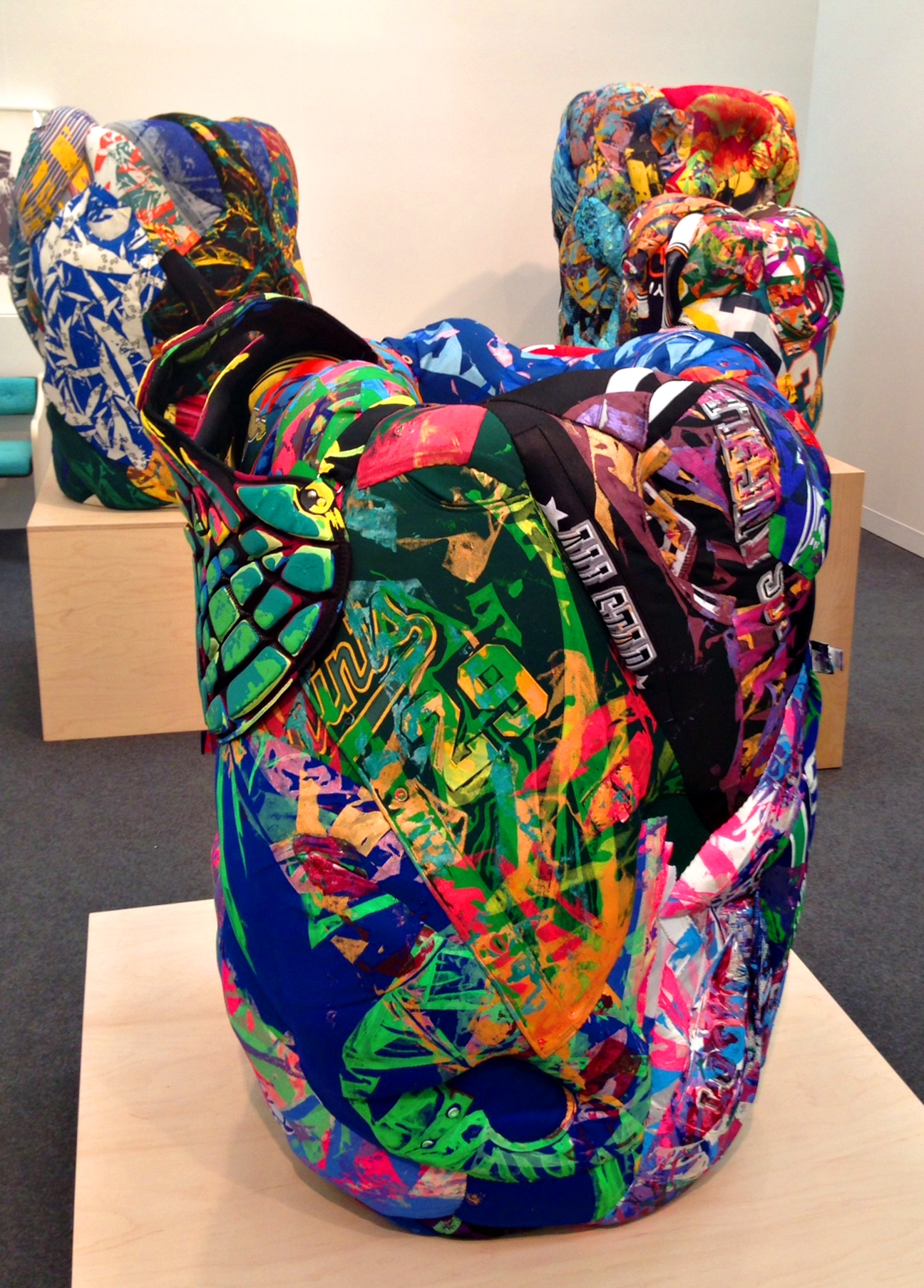 These were my favorite sculptures, each of them made of clothing pieces by LA-based artist Aiko Hachisuka.