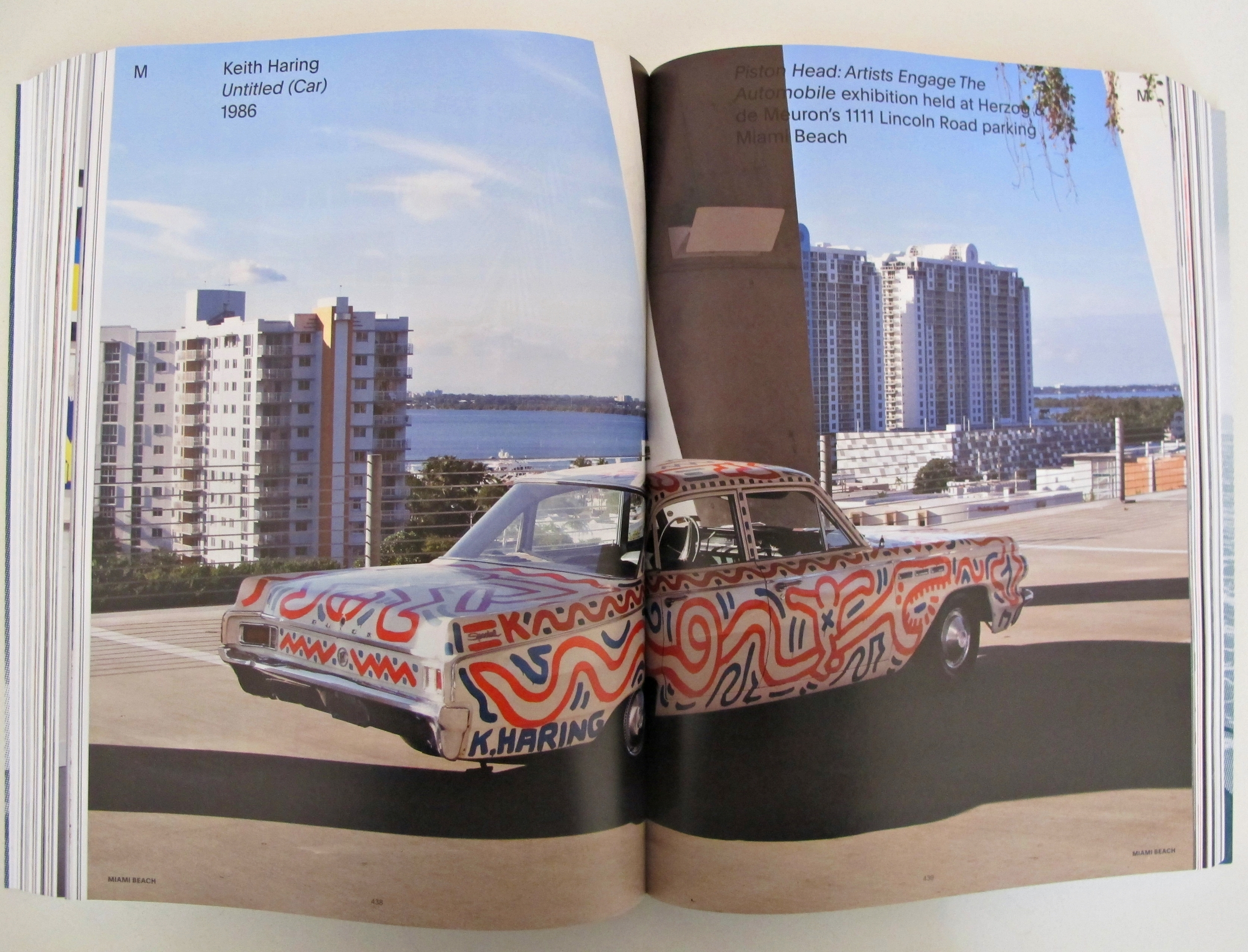 A car that Keith Haring painted on in 1986 was brought to the Automobile Exhibition held at Herzog & de Meuron's 1111 Lincoln Road Parking in Miami Beach, 2013