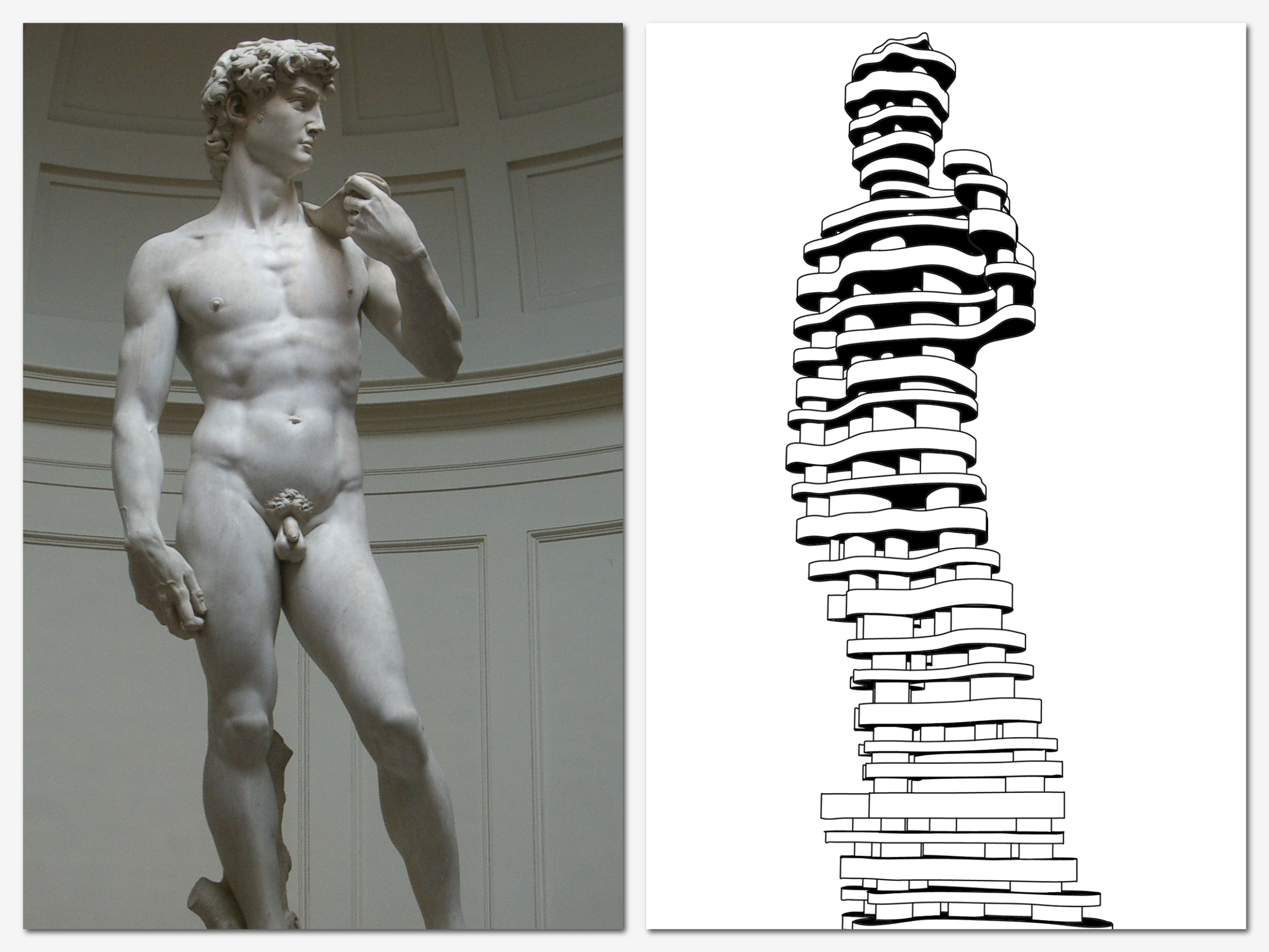 """On the left,Michelangelo's """"David"""" who inspired Antonio's project; on the right is Antonio's sketch of """"Hero""""."""