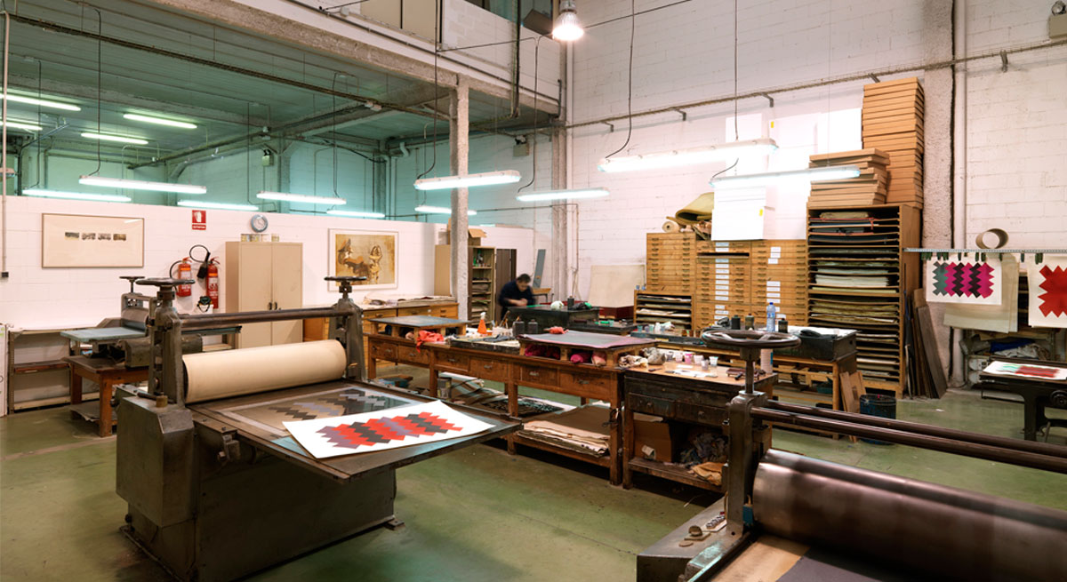 One of the printing rooms at Poligrafa