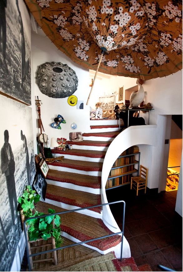 "The staircase leading to Dali's studio and ""Models Room""  where he kept mannequins and other props."