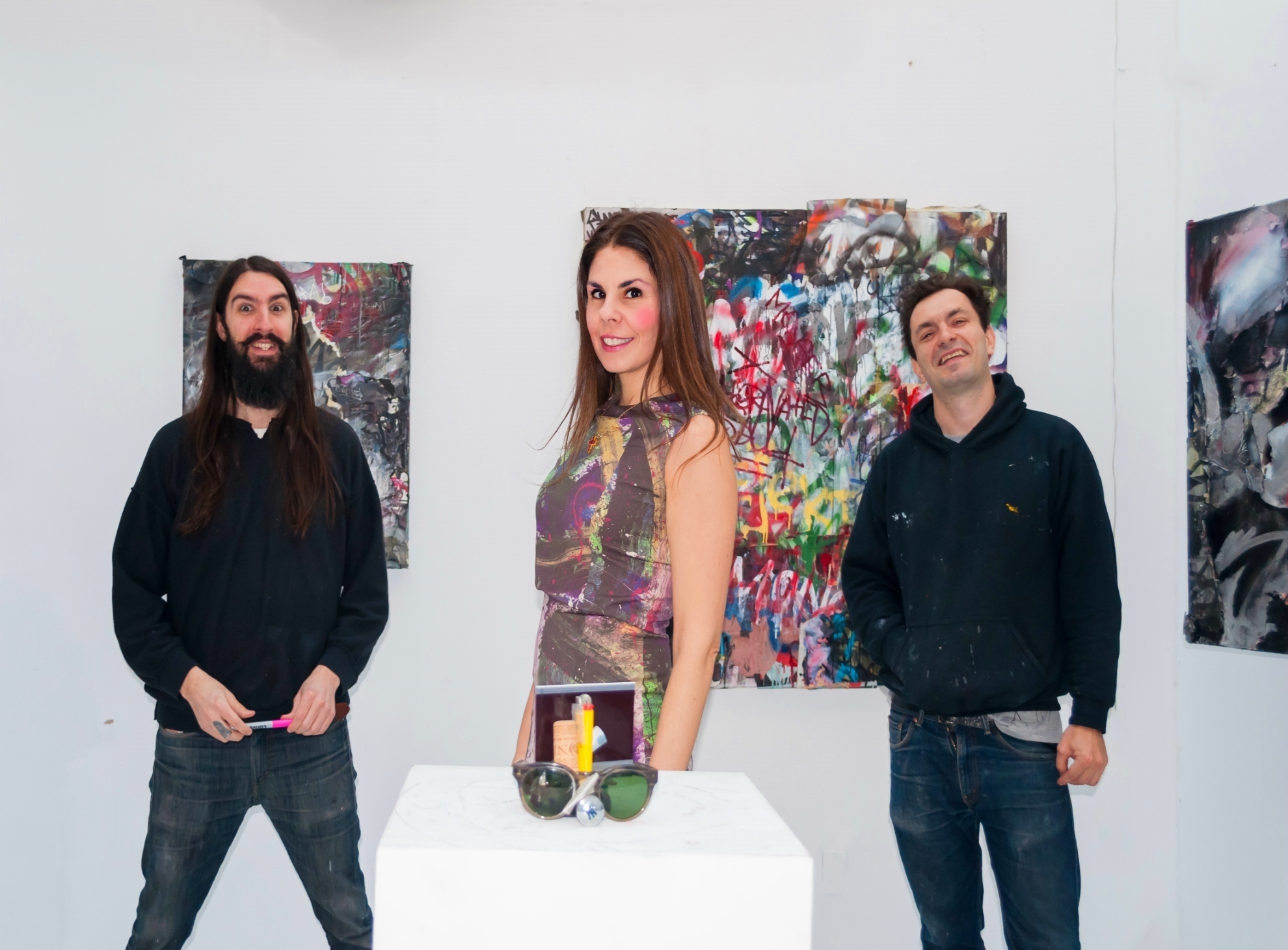 Jason (Serf), me and Mikhail (Mint). I'm wearing Hanley Mellon dress and Isabel Marant boots. Pictures by Peter Koloff.