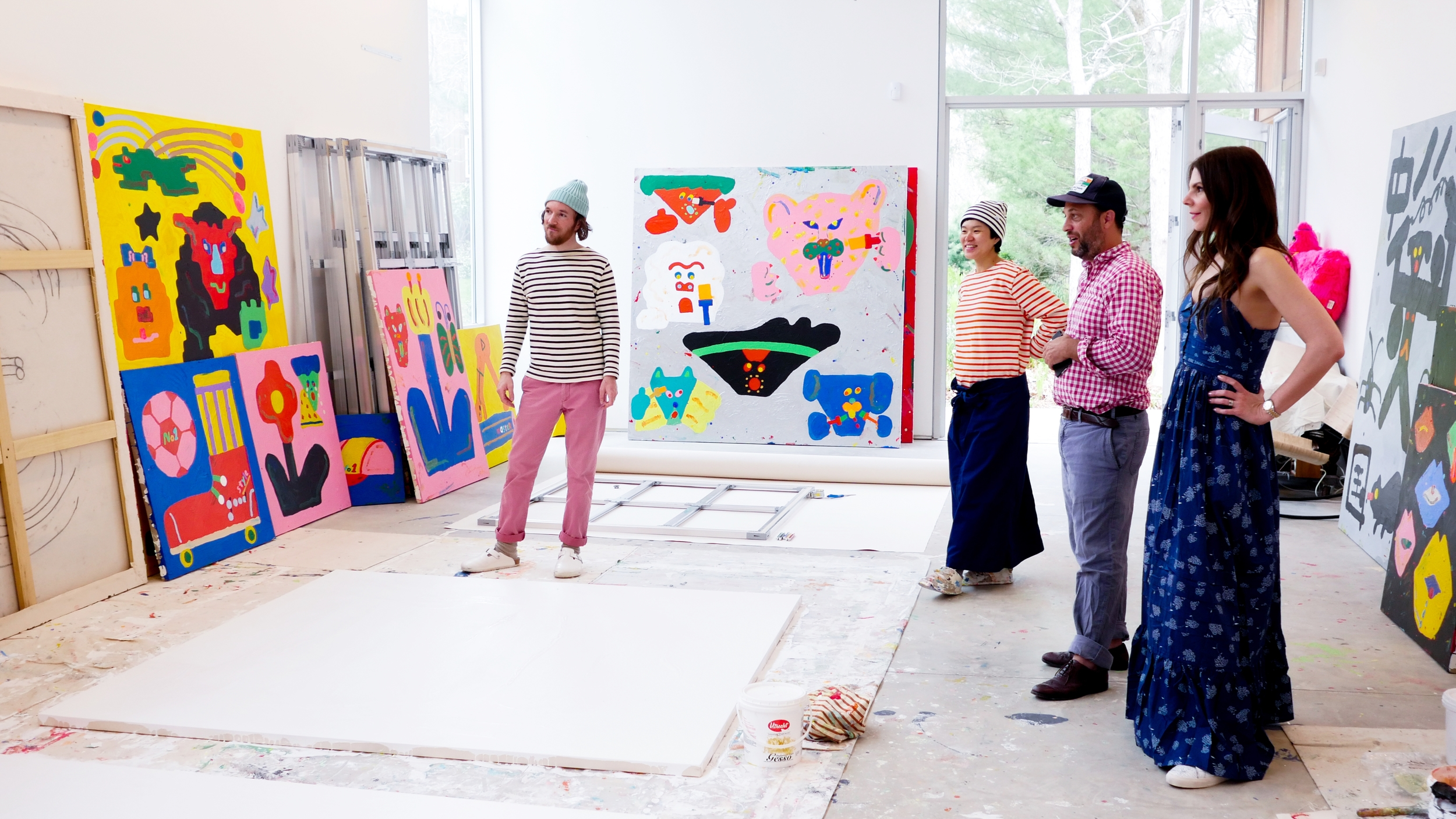 Justin Waldron, Misaki, Eric Firestone and I admire the amazing work that Kawai has created in the East Hampton studio since January