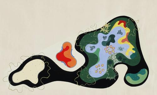 Roberto Burle Marx. Garden Design Saenz Peña Square, Rio de Janeiro, Brazil, Plan, 1948. Gouache on paper