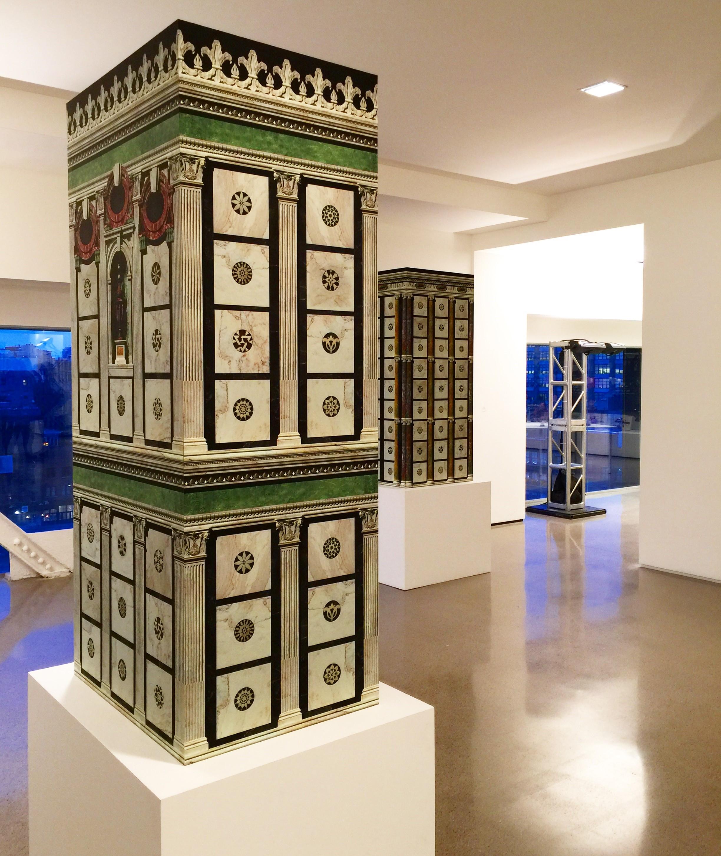 Pablo Bronstein's sculptures at Independent