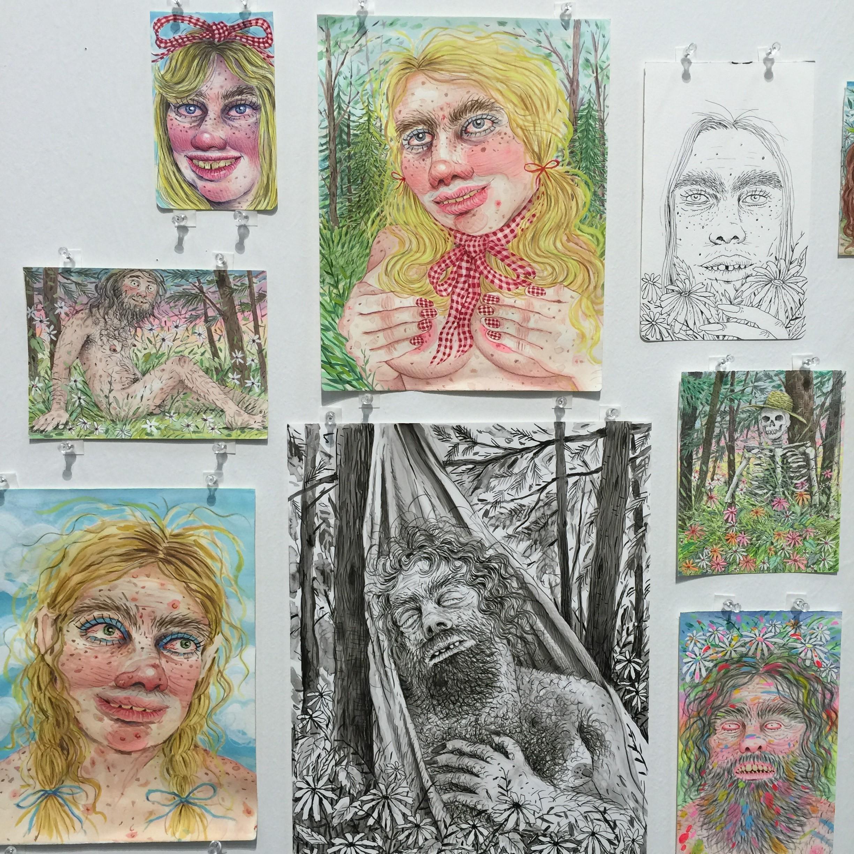 Rebecca Morgan's drawings at Asya Geisberg's booth at Art on Paper