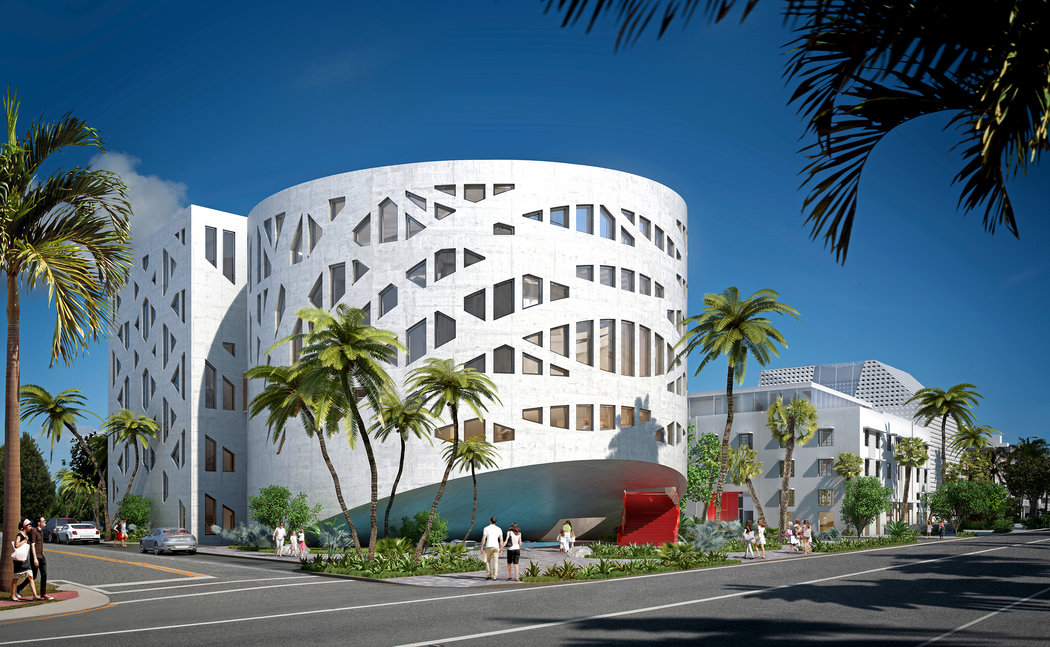 The exterior of the Faena Forum designed by Rem Koolhaas