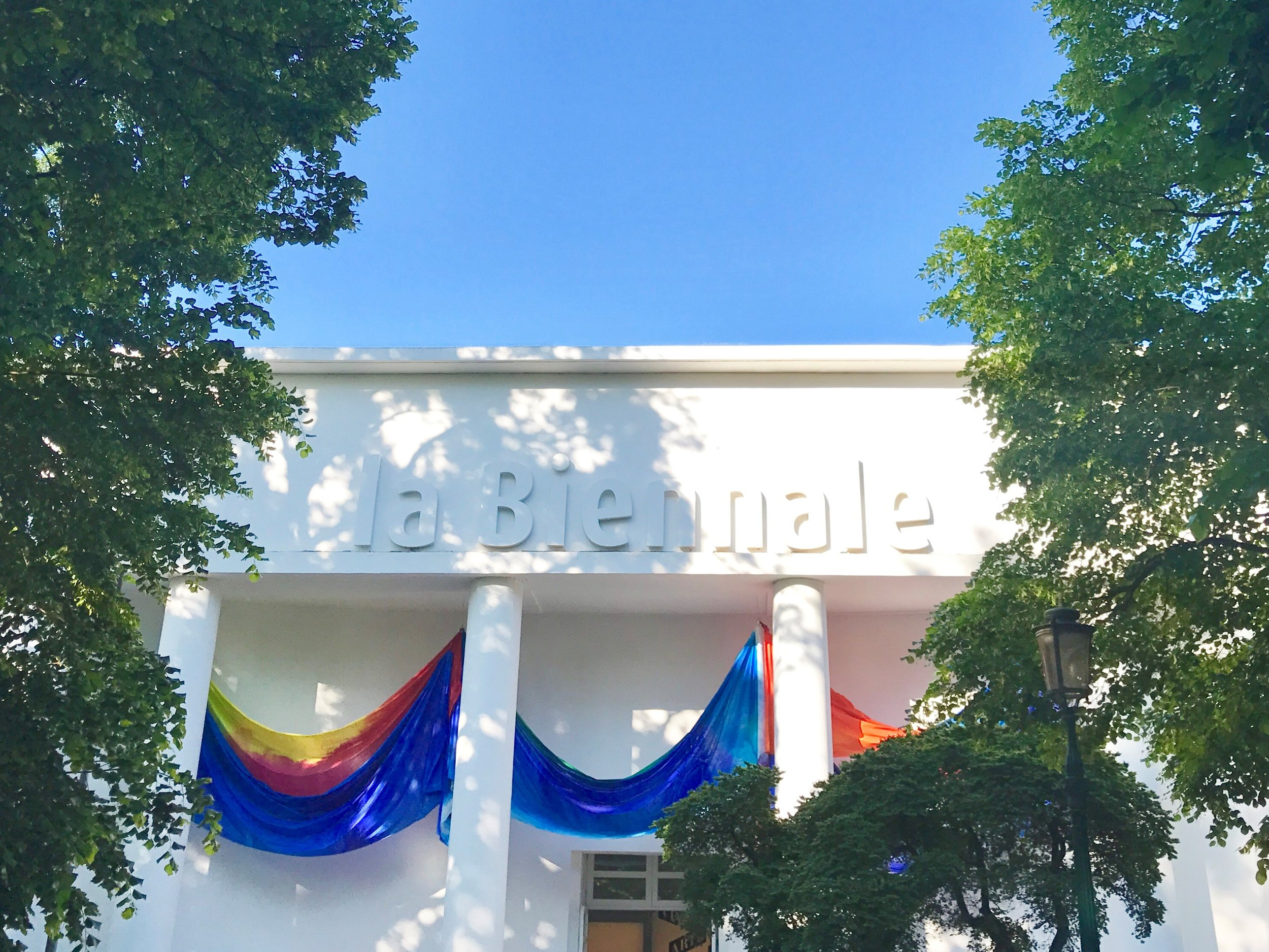 The facade of the Central Pavilion at Giardino with Sam Gilliam's drapes