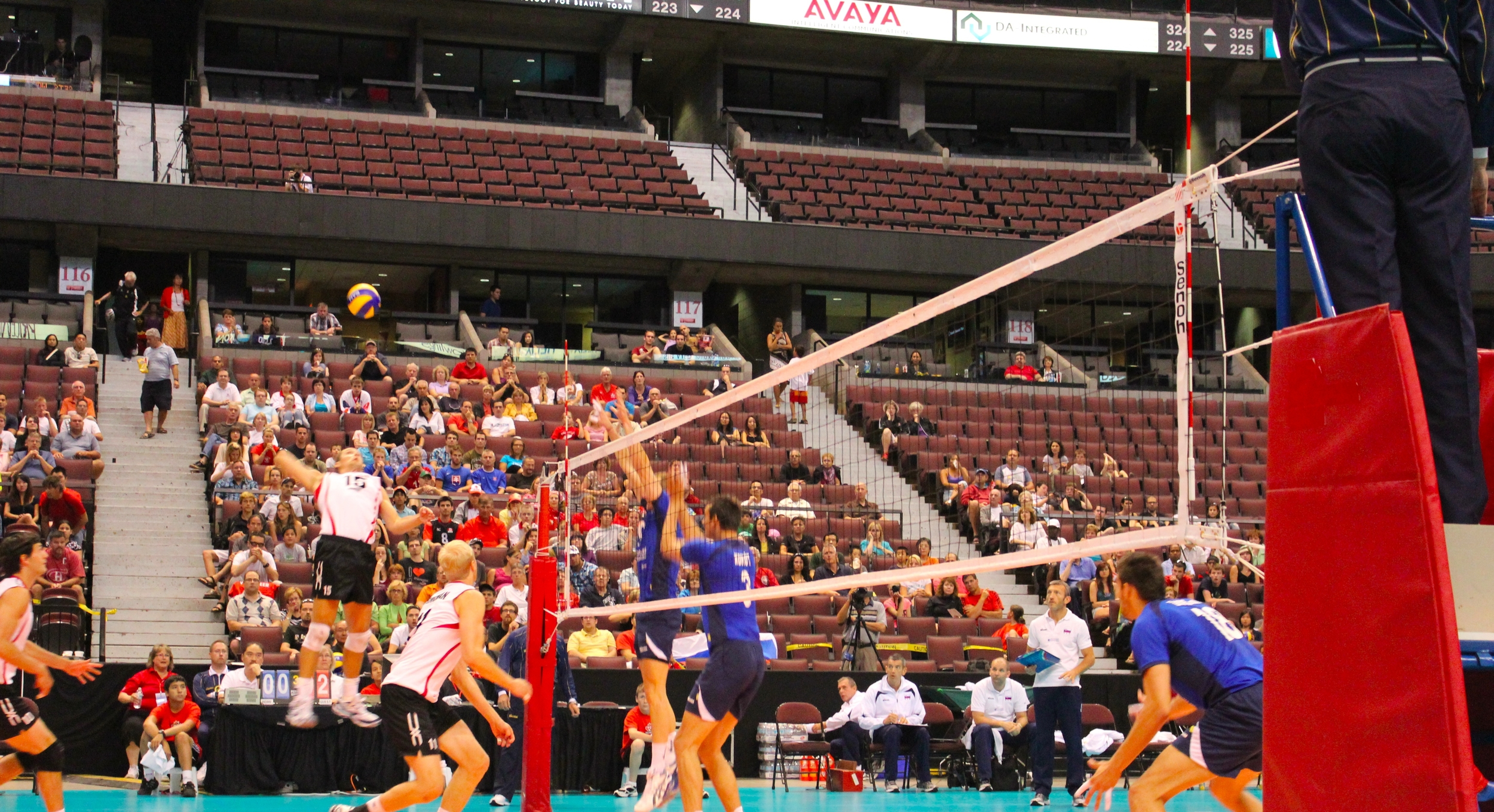 Our Canadian Men's National Team playing in the first World League Qualifier back in 2011. Mostly empty seats in the stands.