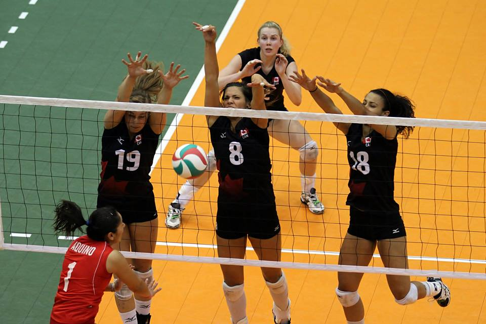 Jennifer Lundquist, Jamie Thibault, Shanice Marcelle work together for the triple-block while Lisa Barclay gets ready on defence. All four players have made big strides to returning Canada's women's program back to it's former stature Photo: Volleyball Canada