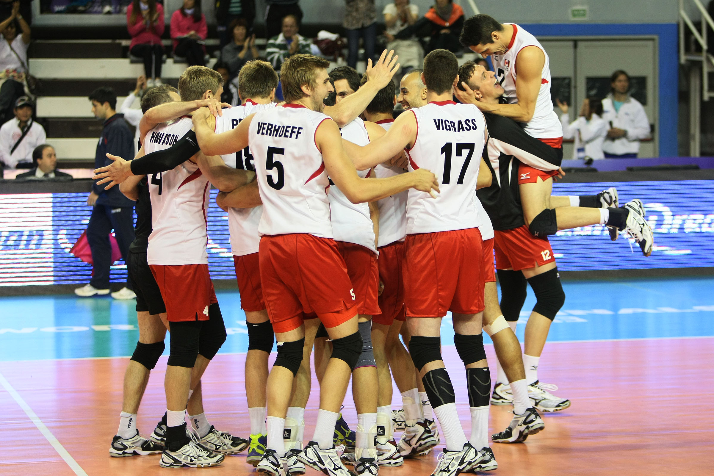 Canada celebrates after defeating Russia 3-2 at the World League Finals. Could the team be heading to another historical finish? Photo: FIVB