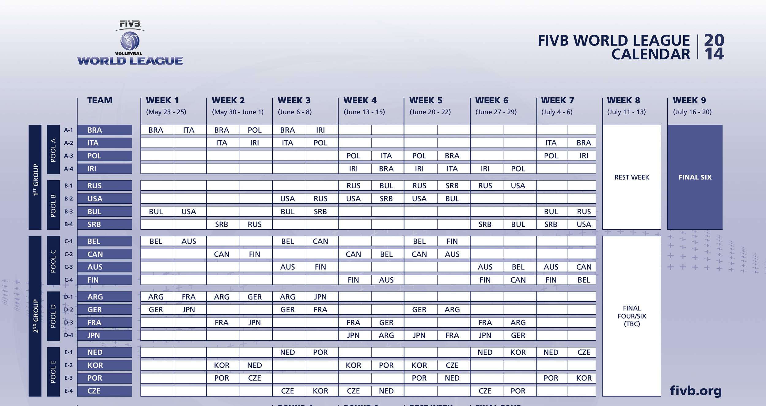 The full 2014 FIVB World League schedule via FIVB.  Click to enlarge.