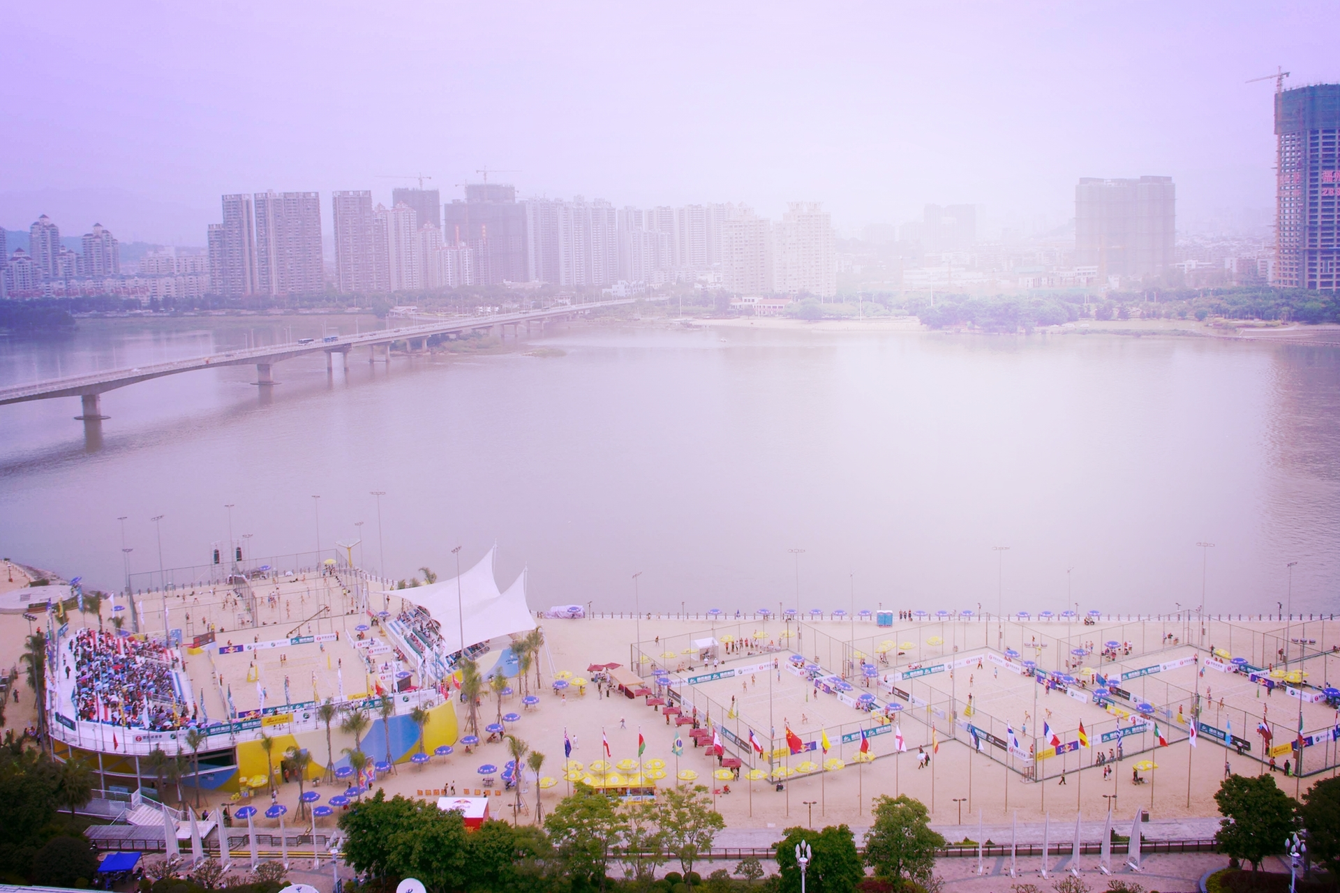Fuzhou, China. The site of the first event on the 2014 FIVB Beach Volleyball World Tour. Photo: FIVB