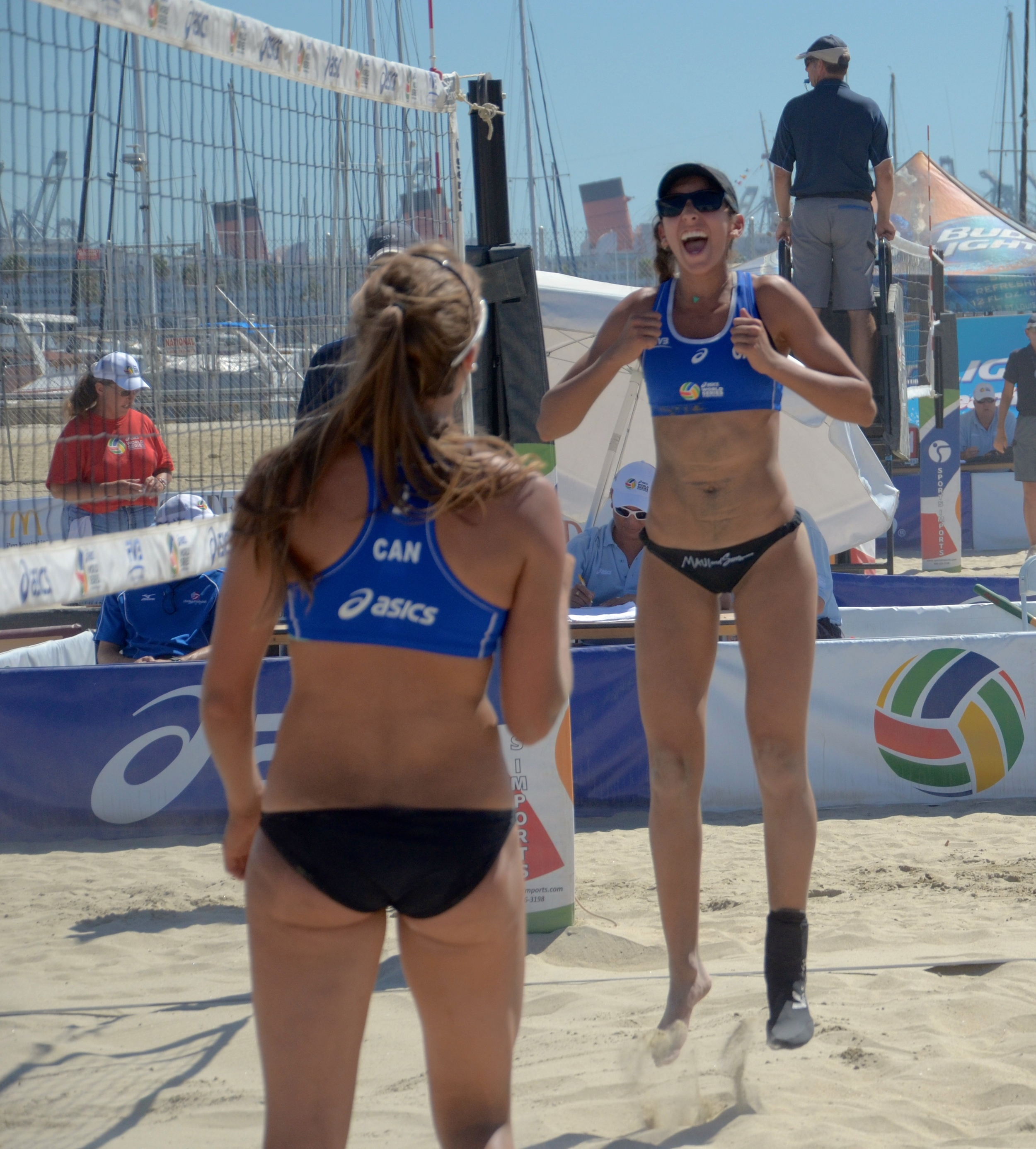 Melissa Humana-Paredes and Taylpr Pischke celebrate after defeating Germany to advance to Round 1 Photo: Everett Delorme