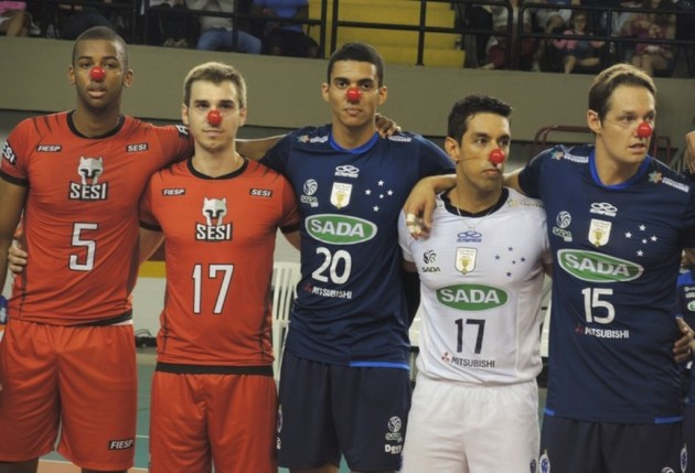 Fred Winters (right) with his teammates down in Brazil. Photo: World of Volley