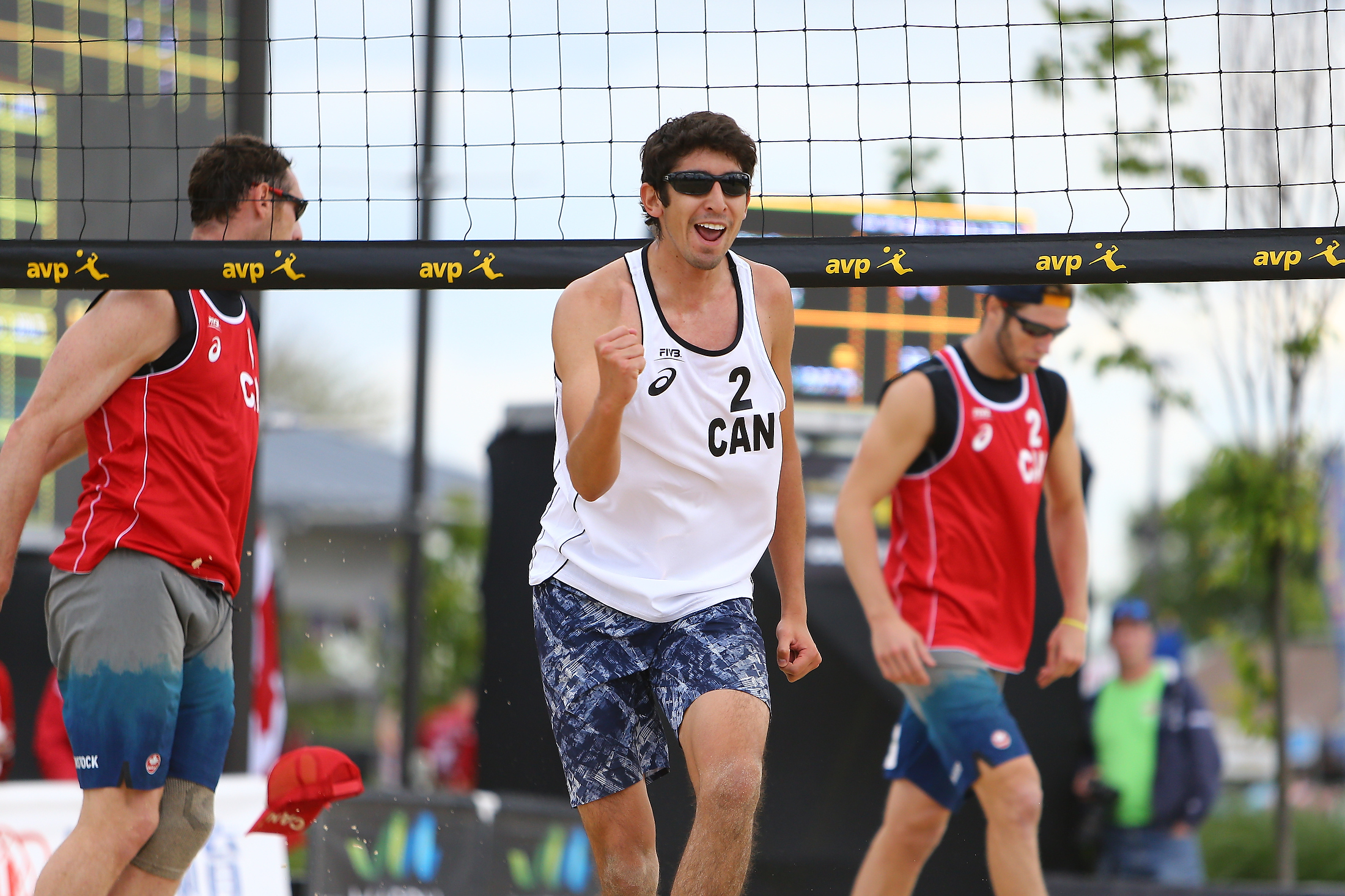Score one for the good guys! Or maybe not... Felipe Humaña-Paredes celebrates a point against Binstock/Schachter. Photo: FIVB