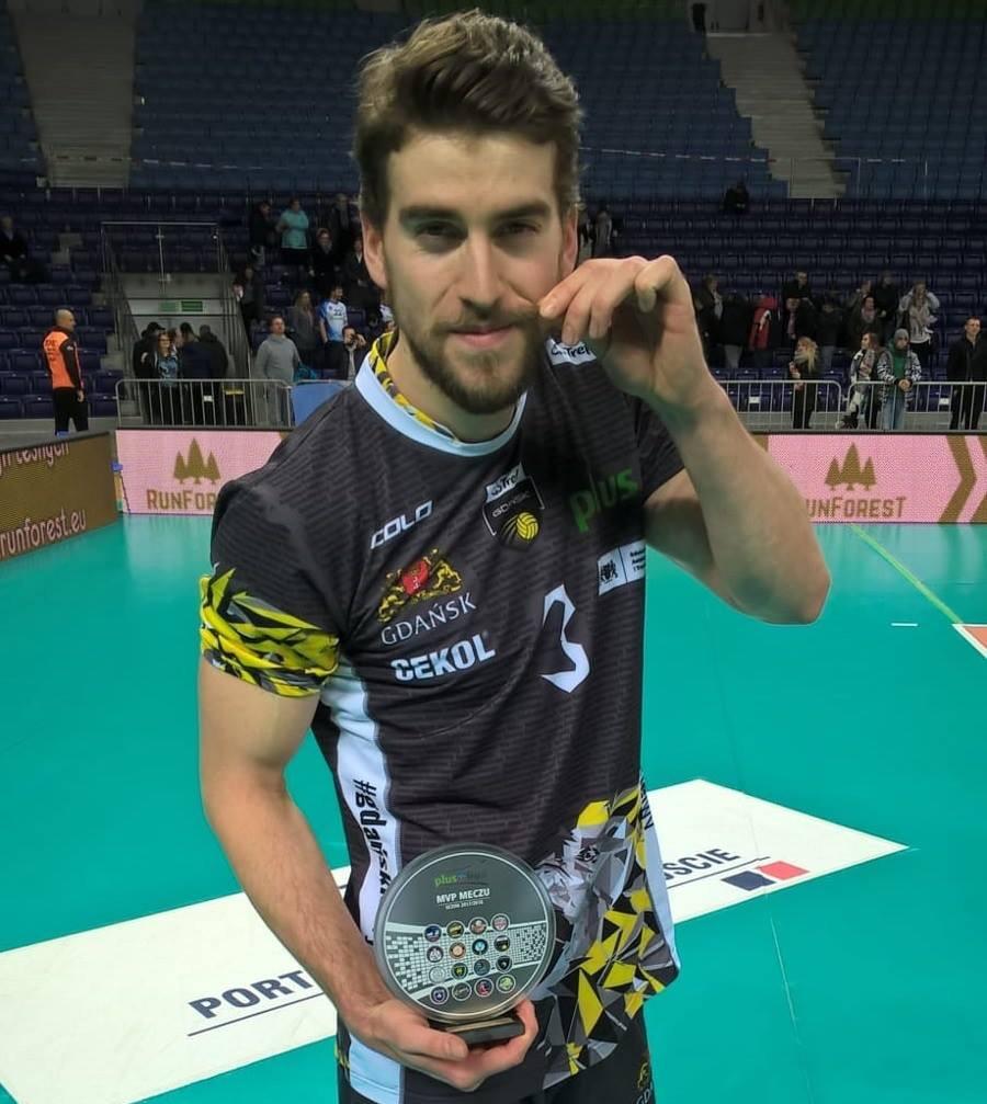 TJ Sanders after winning a Match MVP for Gdansk of the Polish Plus Liga . Photo: volleyworld.pl