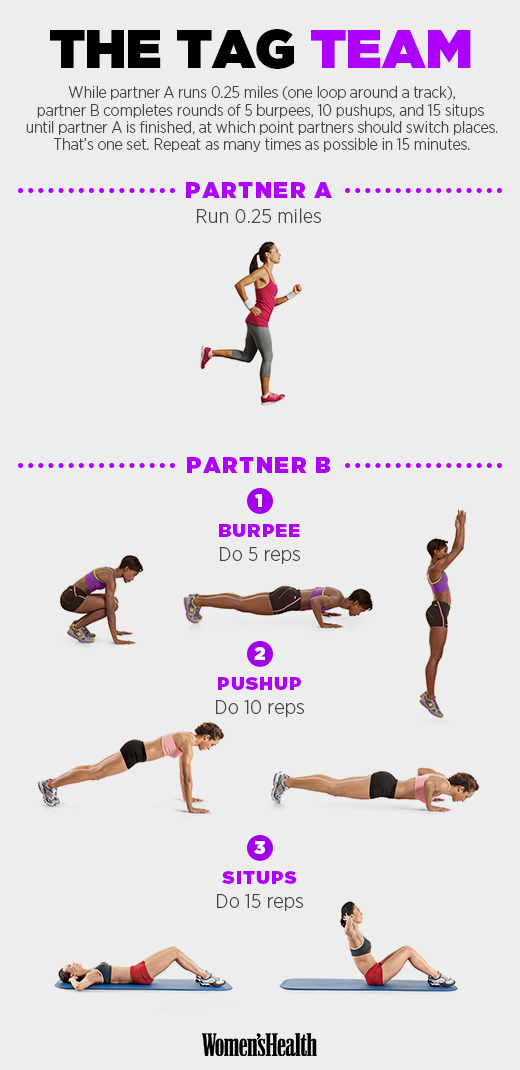 When switching with your partner, pick up on the circuit right where they left off. Try to complete as many rounds of the circuit together in 15 minutes.