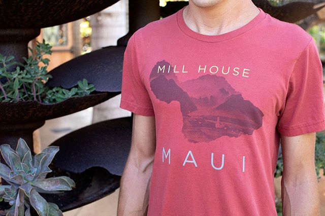 What better way to represent your favorite restaurant in Maui than with a new super soft cotton t-shirt or hoodie? Maui's outline with a historic view of the Iao Valley and the iconic Kaʻahumanu Church. Purchase online or at the restaurant! 🤙  #millhousemaui #retail #shoponline #maui #hawaii #waikapu #waikapucountry #mauitropicalplantation 📸 @soley_photography