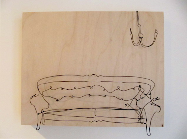 Classic couch with chandelier