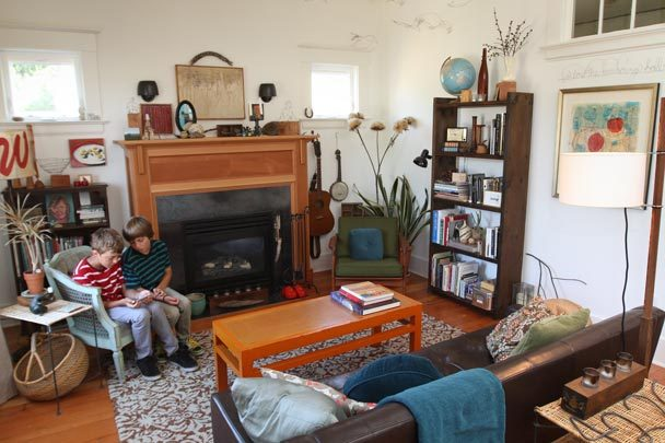 Shelli's sons in her living room