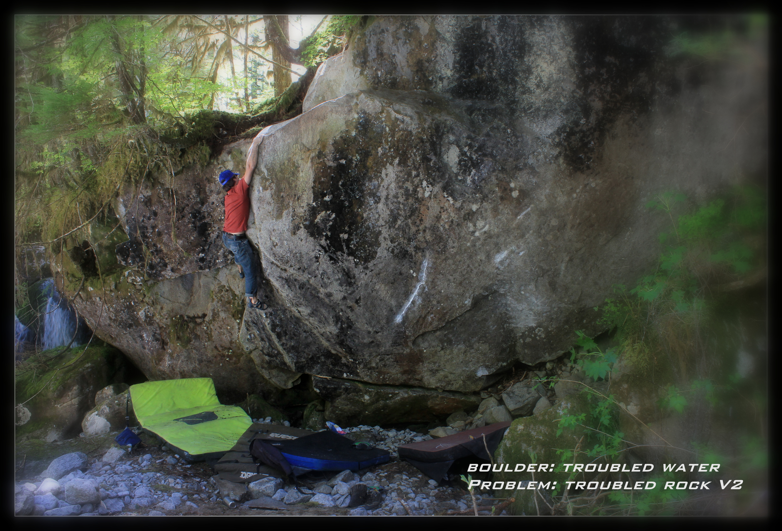 Troubled Rock-V2  Morpheus Bouldering Area  FA Pablo Zuleta  Begin low next to the Troubled Water Project and move up the arete and crack to a top out. These lines are situated next to a beautiful waterfall.  Pictured: Pablo Zuleta