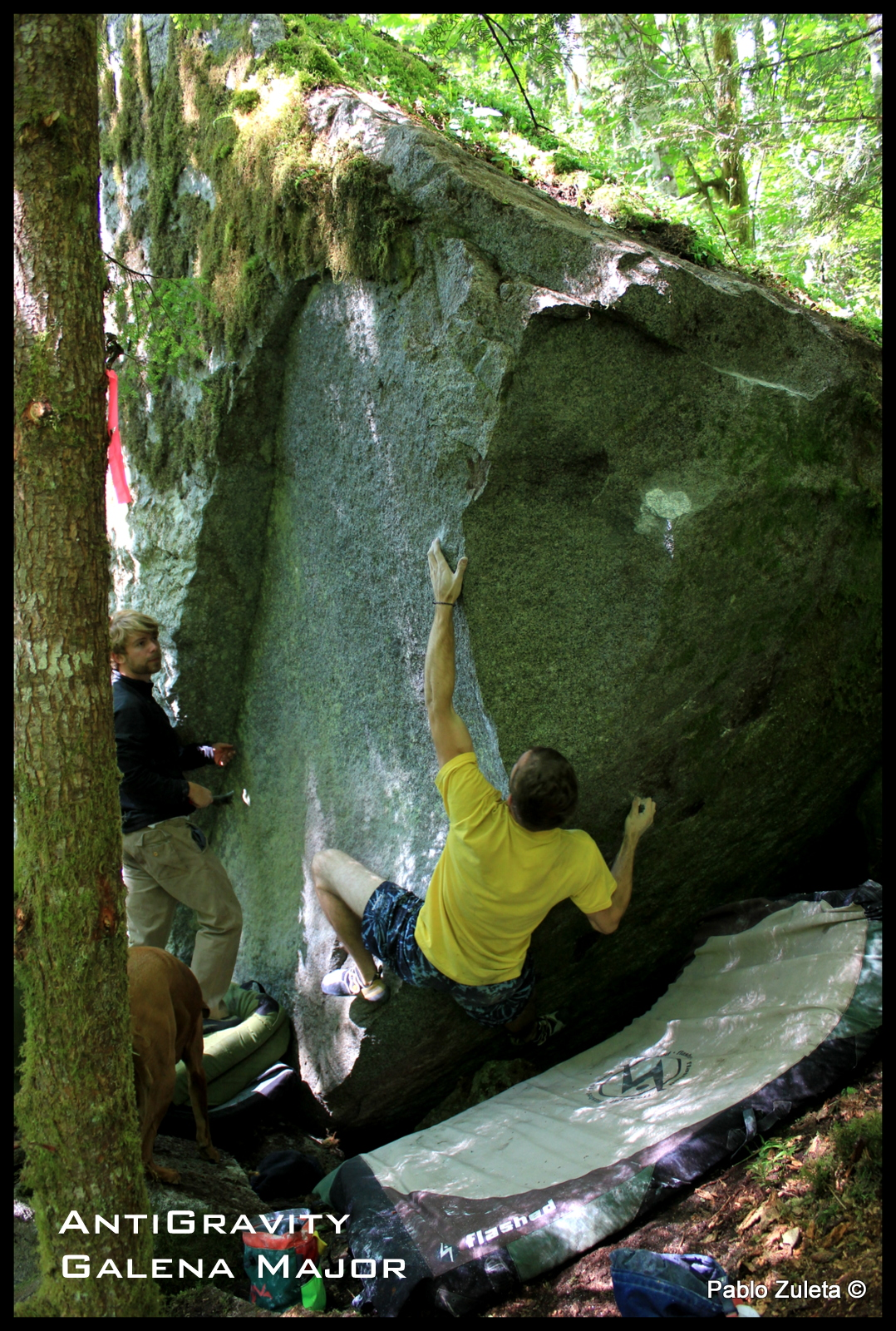 "Joel Sheppard climbing ""Antigravity"" a new line at Galena Major Bouldering Area."