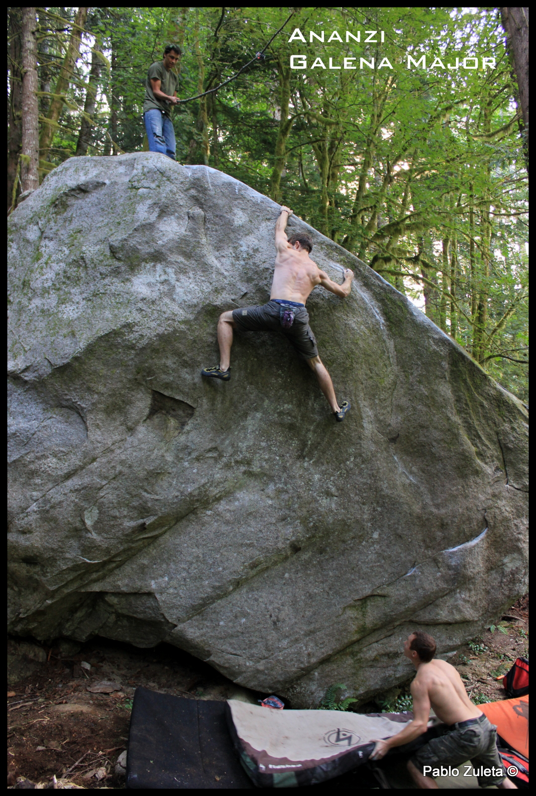 """Joel Sheppard working Ananzi.     Joel sent this project on August 20th ! V8. Awesome line with some very committing moves.  I took this picture while sitting on a dead 1"""" diameter branch 10' up."""
