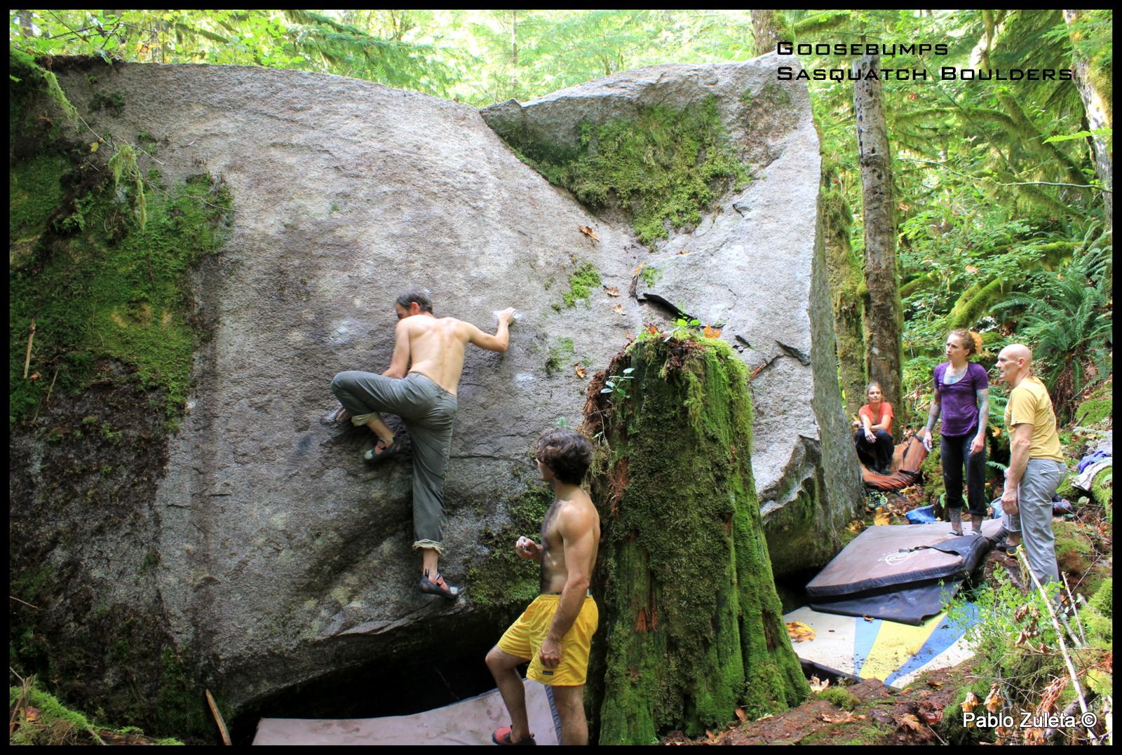 Dan Erikson climbing Goosebumps another new slab line.