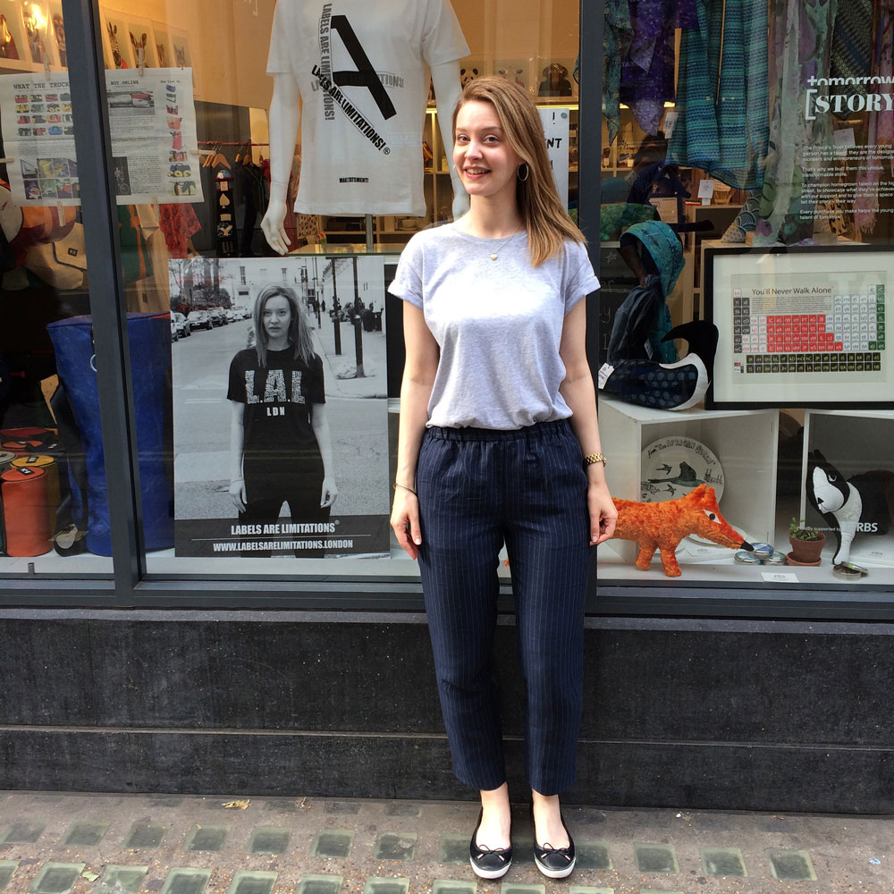 Friend and model: SS15LAL cover star Helen Lloyd arriving at the Labels Are Limitations® pop-up.