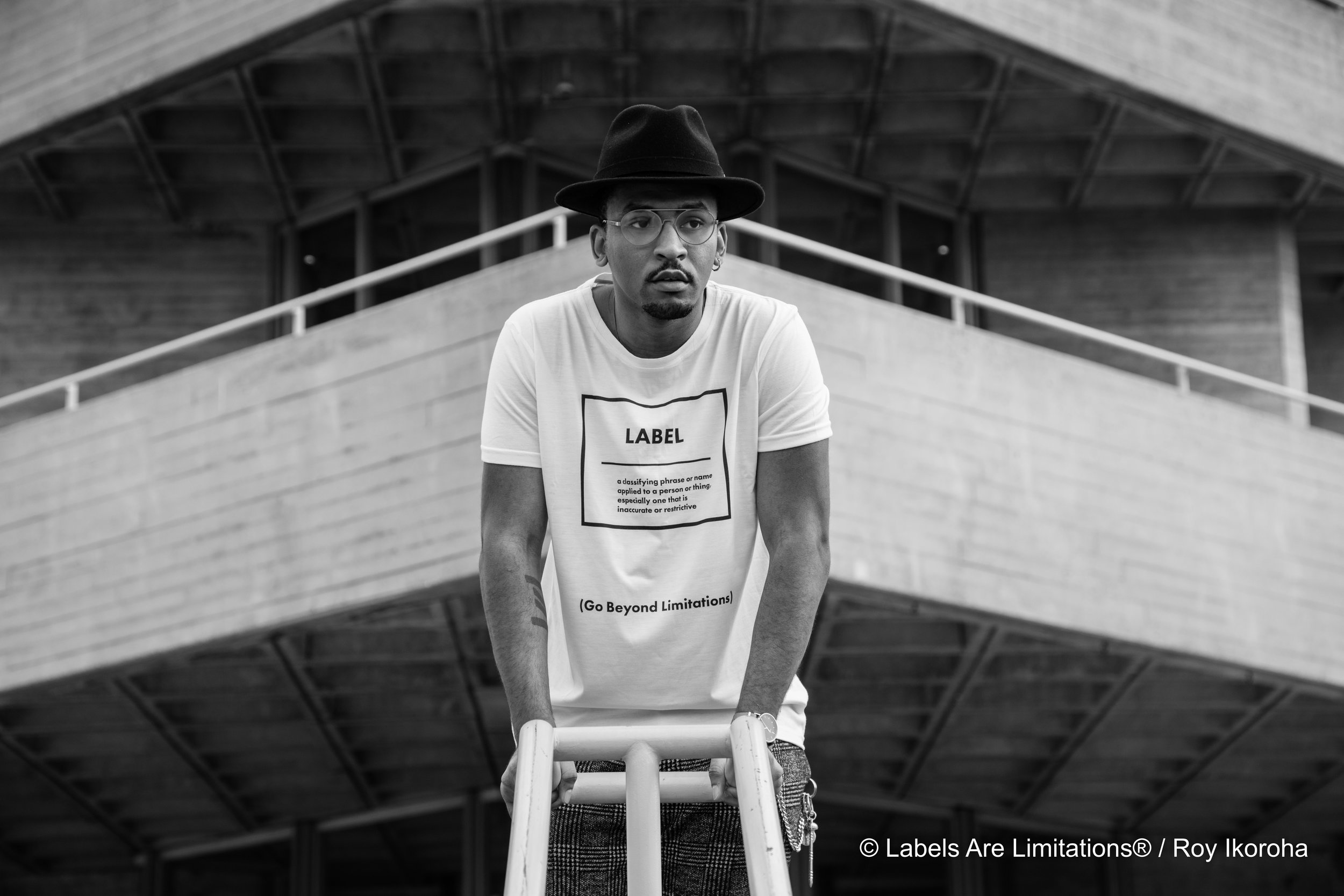 Shawn (Sug Sean) Webster wears 'Label' from AW16 collection | Southbank, London
