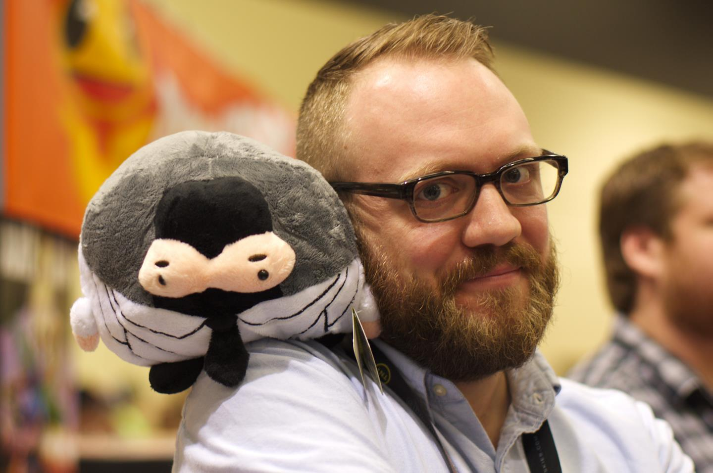 Christopher with Squishable Dr. McNinja. Photo by Sarah Sharp for  Comic Rocket