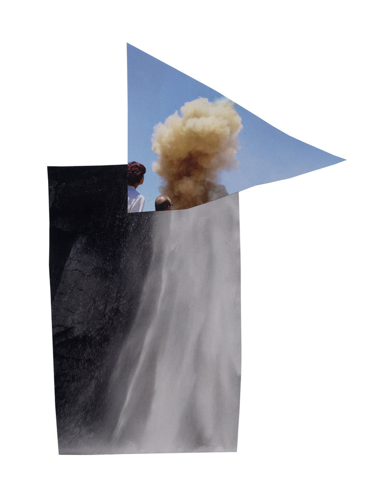 "Watching an explosion where there should have been a waterfall . 2017, collage on paper, 13""x17"""