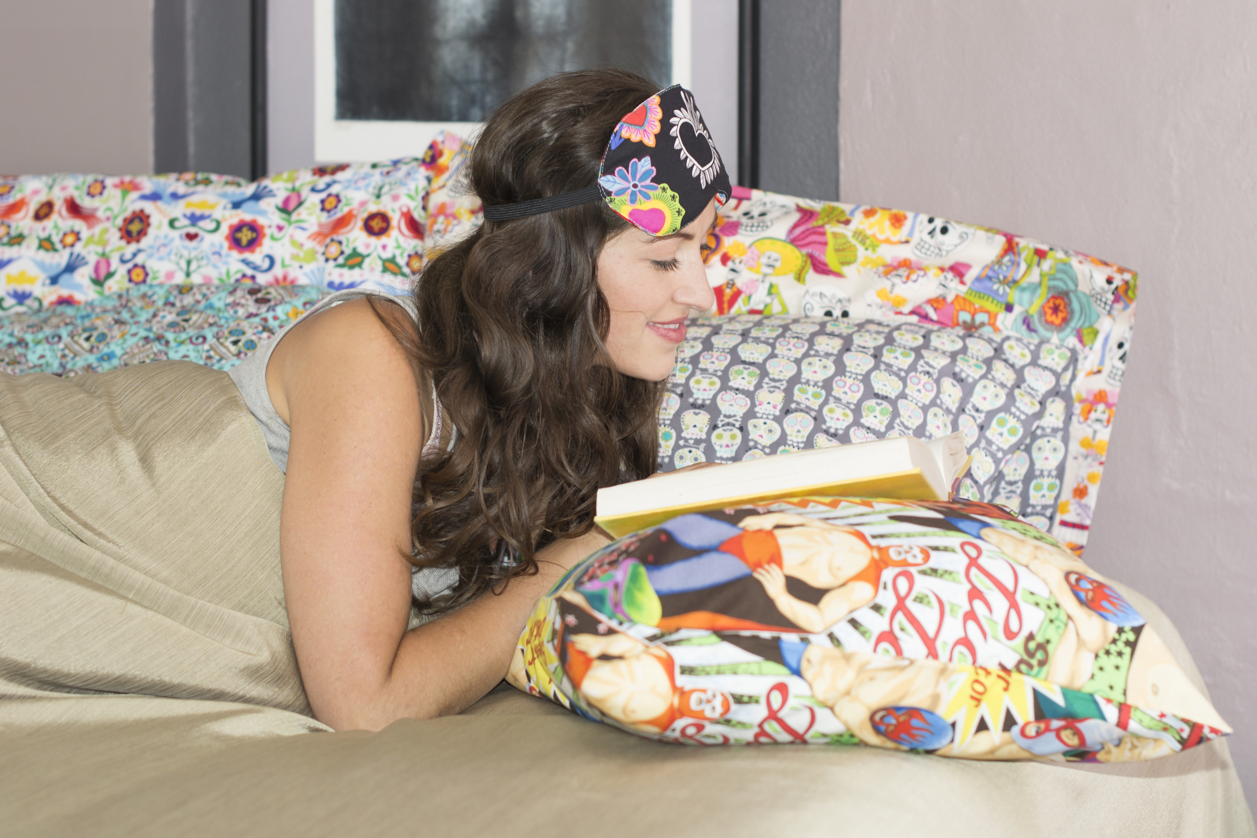Eyemask and pillowcases by San Miguel Designs