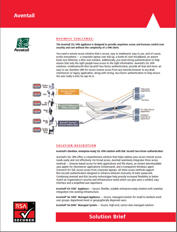 Aventail and RSA information security