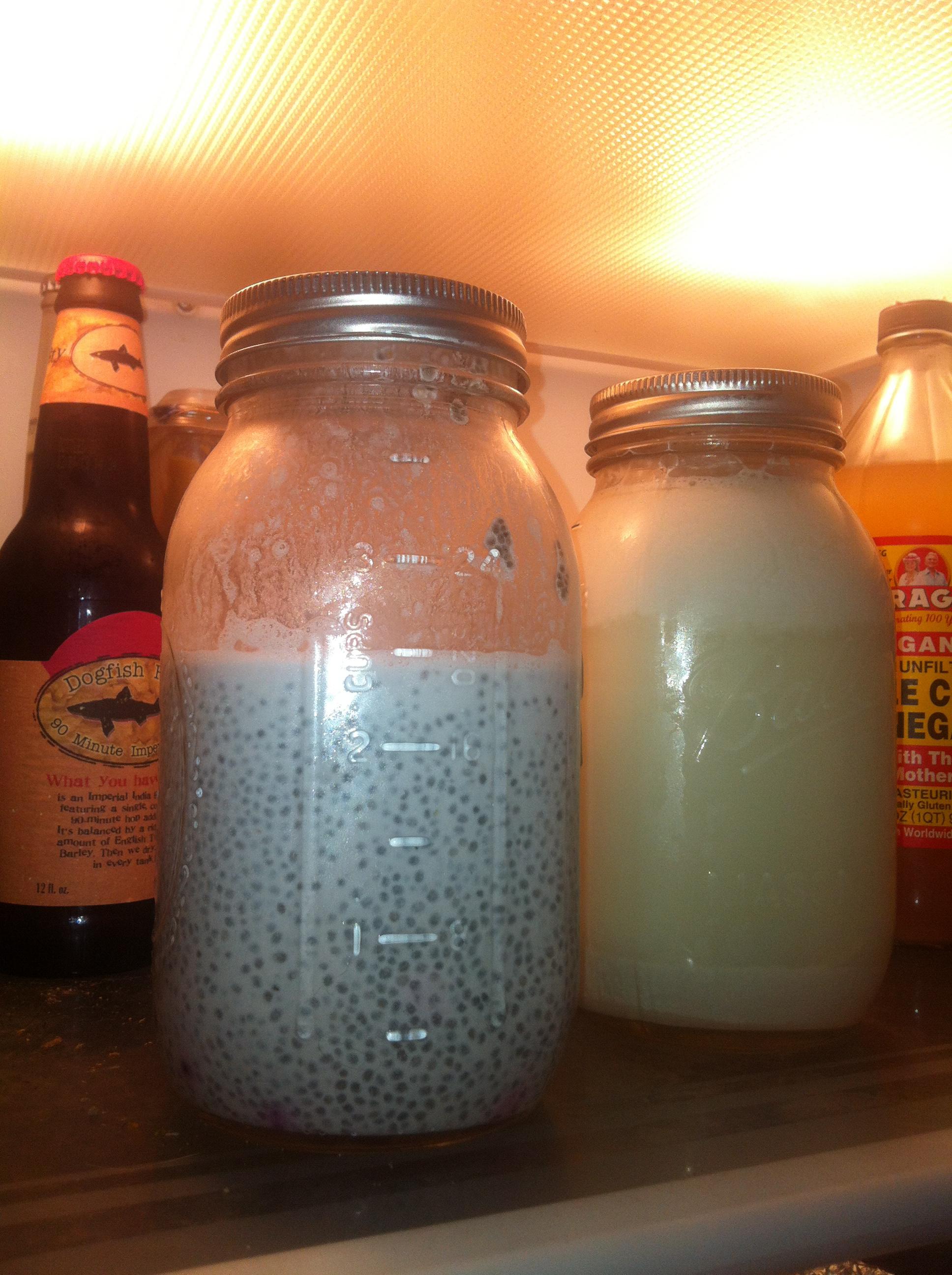 Chia pudding n almond milk.
