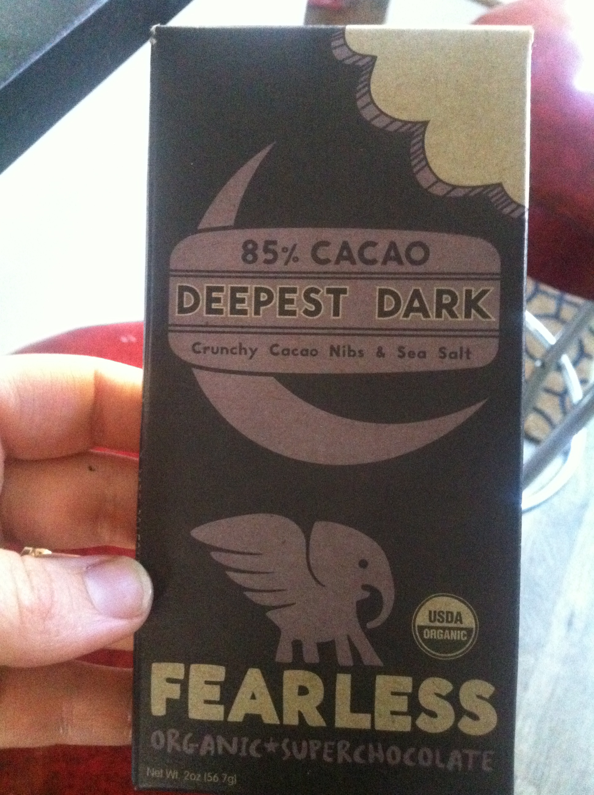 I (... was searching for deep, dark, fearless chocolate and ...) found this today. It's rich and giving and it made my day brighter.