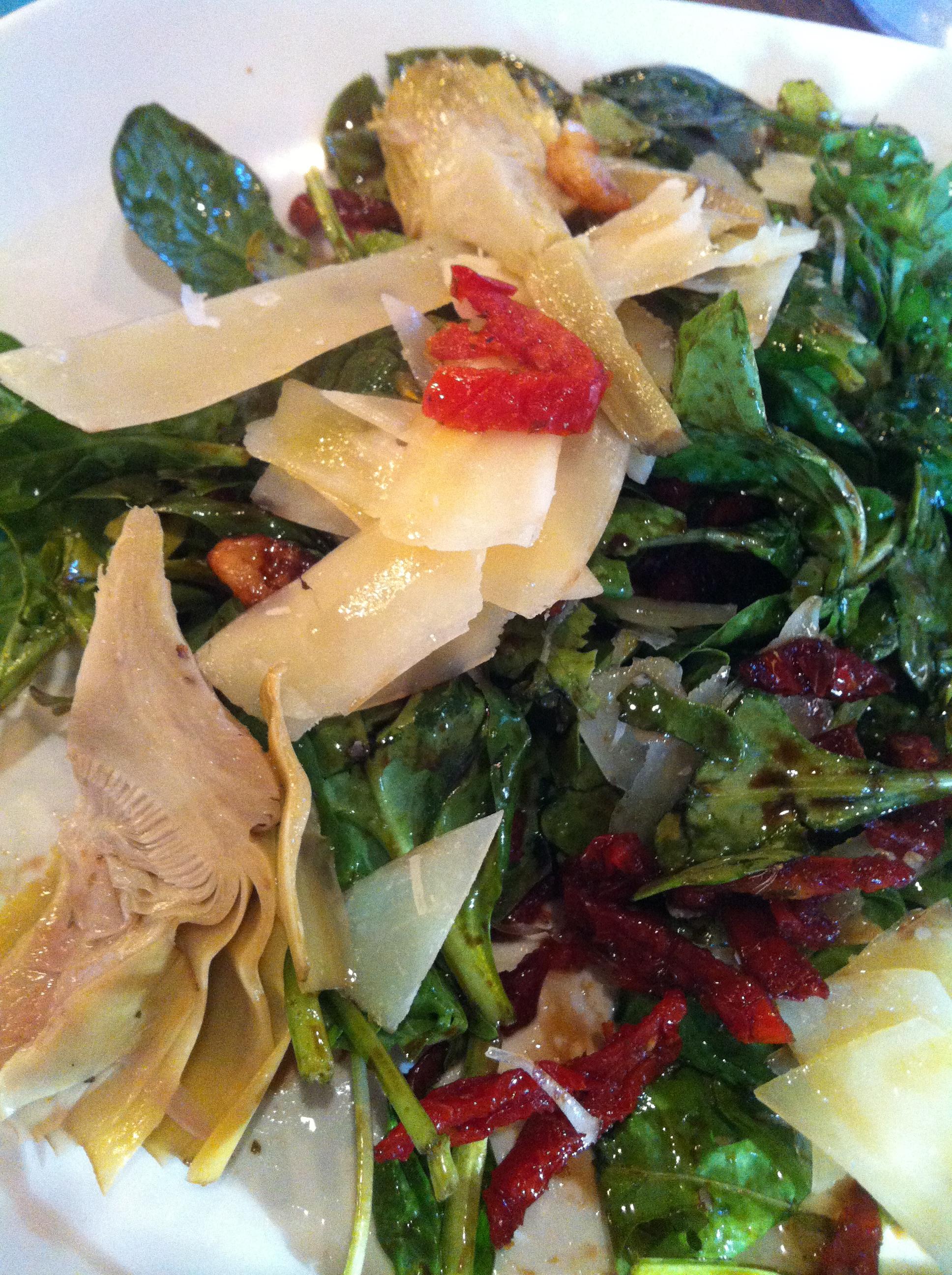 Delightful dinner salad. Fries eaten but not pictured.